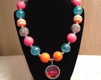 Troll's Poppy Necklace, Troll's Jewelry, Trolls Chunky Bead Necklace, Poppy Necklace, Poppy Troll Gumball Bead Necklace