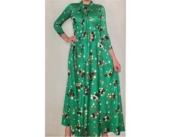 FREE SHIPPING 70's Joseph Magnin Green Floral Print Maxi Dress with Long Neck Tie Ascot - Retro Long Sleeve Boho Hippie Dress - 70's Dress