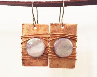 Copper Dangle Earrings - Handmade Jewelry - Copper Earrings - Wire Wrapped