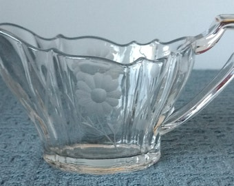 Clear Glass CREAMER / CREAM PITCHER ~ Graceful Oblong Shape ~ Etched Daisies on Sides