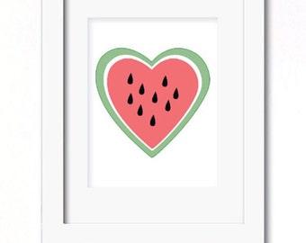 A4 watermelon heart print