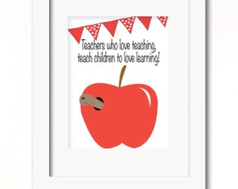 A4 teachers thank you worm apple print great christmas gift