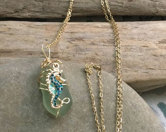 Seahorse pendant, sea glass pendant, seahorse statement piece, beach glass necklace