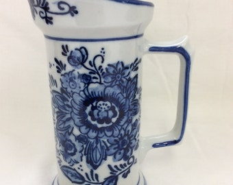 Delfts blue colored jug, Water jug, Water pitcher, Creamer jug, Hand painted, Large D handle, Flo blue, TreasuresinTyme