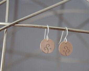 Delicate Swirl Earrings, Bronze Whimsical Earrings