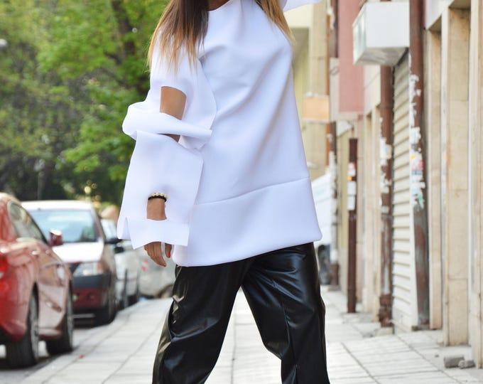 Asymmetric Neoprene Maxi White Tunic, Thumb Holes Extravagant Sleeves, Extra Warm Handmade Tunic By SSDfashion