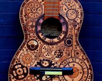 Painted guitar Steampunk  Pyrography. Acoustic guitar.  art guitar