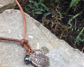 Mens Pearl Necklace / Mens Leather Necklace / Doubloon Necklace  / Surfer Necklace