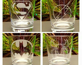 Set of 4 Engraved Superhero Tumblers - Handmade