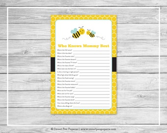Bumble Bee Baby Shower Who Knows Mommy Best Game - Printable Baby Shower Who Knows Mommy Best Game - Bumble Bee Baby Shower - SP138