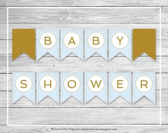 Blue and Gold Baby Shower Banner - Printable Baby Shower Banner - Blue and Gold Confetti Baby Shower - Baby Shower Banner - EDITABLE - SP146