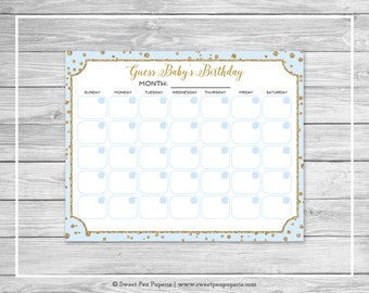 Blue and Gold Baby Shower Guess Baby's Birthday - Printable Baby Shower Guess Baby's Birthday Game - Blue and Gold Baby Shower - SP146