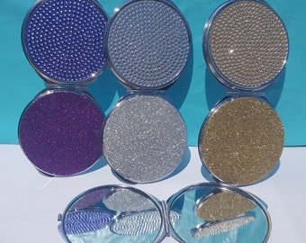 Bling Compact Mirror, (Your Choice of Color), Compact Mirror, Make-Up Mirror, Folding Mirror, Purse Mirror, Travel Mirror, Pocket Mirror