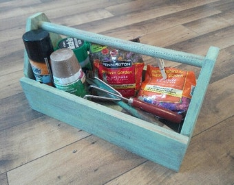 Tool box, Wood tool box, Garden tote, Garden tools, Automotive box, Car tote, Diaper tote, Carry all, Craft storage, Rustic box, nursery
