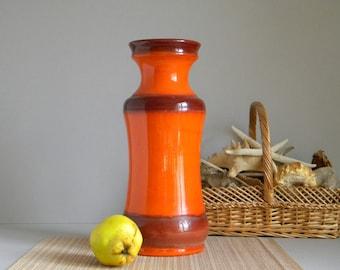 Large Vase KLEIN KERAMIK Model 728-40, West Germany Fat Lava Studio Art Pottery, Bright Orange Glossy Glaze, Retro 70's Space Age Era