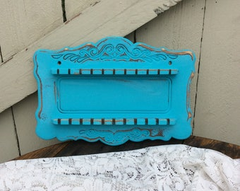 Shabby Chic Spoon Rack Finished in Robins Egg Blue