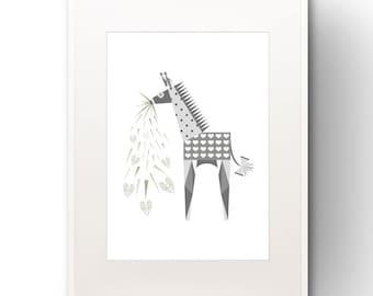 A3 Giraffe Art Print