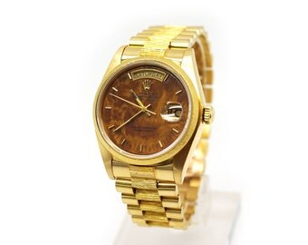 Mens Rolex 18k Yellow Gold President Day Date Burlwood Dial Watch 18078