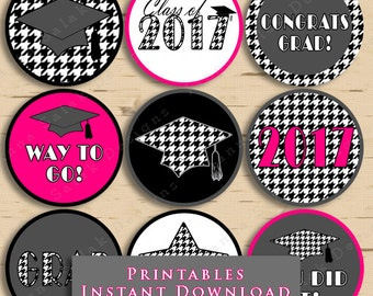 Graduation Printable Cupcake Toppers or Tags Houndstooth 2017 Grad Black and White with Hot Pink DIY Printable INSTANT DOWNLOAD
