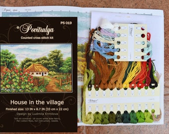 """Cross Stitch Kit """"House in the village"""", DIY, complete lanscape craft kit with supplies, counted embroidery pattern instructions"""