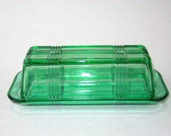 Hazel Atlas Forest Green Crisscross Butter Dish -1950's Criss Cross Kitchen Glass