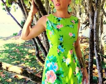 70's Aloha Hawaiian Dress Maxi Sears Hawaiian