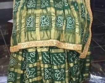 Traditional Bandhani Zari Cotton Gharchola from Kutch~Bottle Green Colour with Marodi work Handwork Border on Green Raw Silk~ Free Shipping