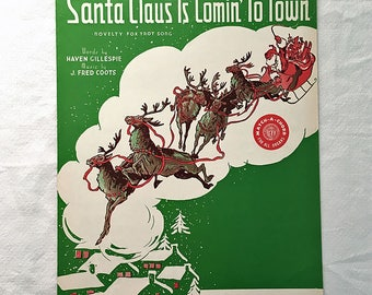 Santa Claus Is Comin' To Town 1962 Vintage Sheet Music Christmas Music