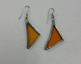 Orange glass triangle earrings