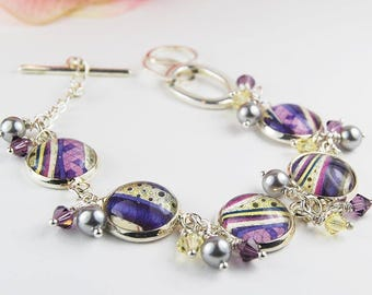 Purple Layers  Bracelet with Pearls and Crystals
