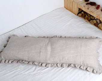 BODY Linen Pillowcase with small Ruffles on each sides. Body natural linen pillow cover. Luxury pure linen! Perfect view! Perfect touch!