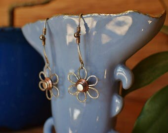 From the 'Summer's Daisies' Collection, long dangle daisy earrings, sterling silver, copper, mix and match with coordinating jewelry