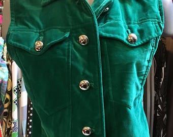1990' green velvet vest. Size S.