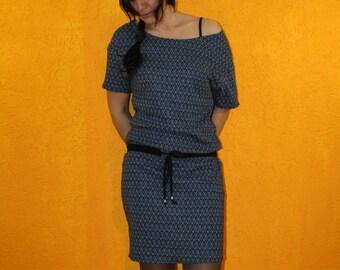 Knit dress 'Chidera' blue black pattern knit tunnel pull short sleeve further neckline off shoulder short mini elegant