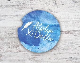 AXiD Alpha Xi Delta Watercolor Script Sandstone Car Coaster Greek Sorority Life