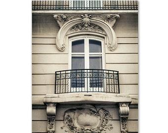 Paris print, Paris photography, Paris window wall art, beige decor, architecture home decor, Paris decor, french home decor, balcony print