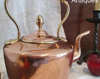 Antique 1800s English Dovetailed Copper Tea Kettle Pot Large Acorn Finial (NBA-686)