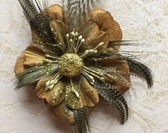 Olive Bronze Flower and Feather Hair Clip