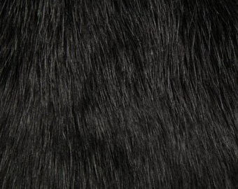 Faux Fur Arctic Fox Fur Black - Shannon Faux Fur - sold by the 1/2 yard