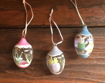 Vintage Easter Decoration / Hand Blown Glass Eggs / Hand Painted / Easter Egg Ornaments / Easter Bunny / Chicks / Tulips /