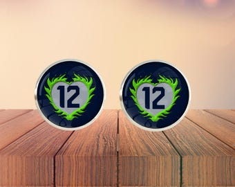 "Seahawks Inspired ""12"" Heart Glass Dome Stud Earrings"
