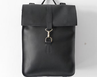 Handmade BLACK LEATHER Rolltop / Rucksack on carabiner from cowhide leather/ Simple black leather Hipster backpack / Black leather bag