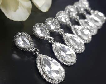 Teardrop Earrings Wedding, Clear Rhinestone Earrings, Crystal Wedding Jewelry, Drop Dangle Earring, Pear Shaped Crystal, Bridesmaid Gifts