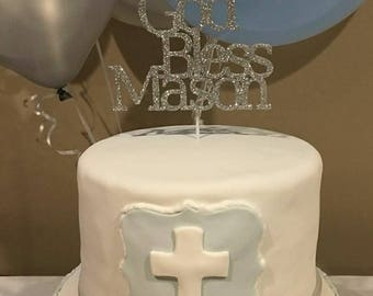 Personalized God Bless Cake Topper