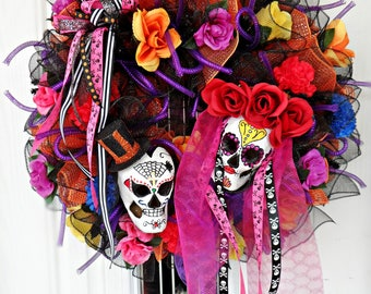Sugar Skull Wreath, Day of the Dead Wreath, Halloween Wreath, Dia de Los Muertos, Front Door Wreath, Halloween Decor, Halloween Door Decor,