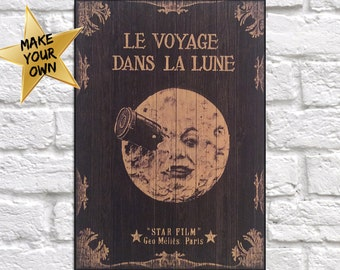 Movie poster Gift for Men wood wall art Trip to the moon Movie print Birthday Gift for Boyfriend Gift for Husband panel effect wood print