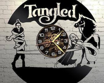 VINYL WALL CLOCK Tangled, best gift, original gift