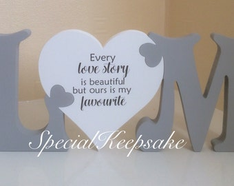 Personalised Freestanding Initials And Heart Jigsaw Plaque Ornament Wedding Valentine's Day Birthday Gift Every Love Story Quote Mr & Mrs