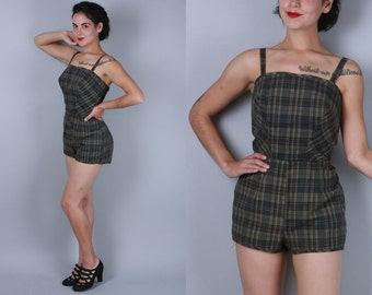 Vintage 1950s Swimsuit | Dark Plaid Cotton Playsuit Swimwear with Convertible Straps | Medium