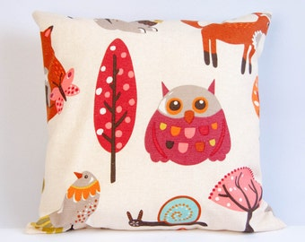 Woodland nursery decor, woodland pillow cover, woodland animal prints, brown cushion cover, throw pillow, owl, fox